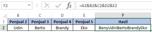 Rumus Excel menggabungkan data dengan simbol &