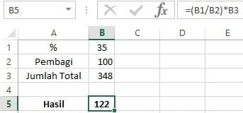 Rumus menghitung persentase bunga di Excel